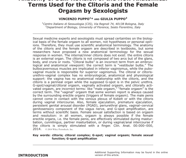 Pdf Anatomy Of Sex Revision Of The New Anatomical Terms Used For The Clitoris And The Female Orgasm By Sexologists