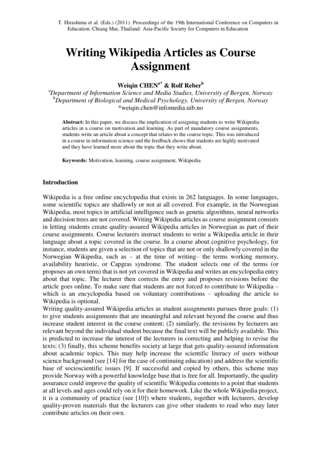 PDF) Writing Wikipedia Articles as Course Assignment