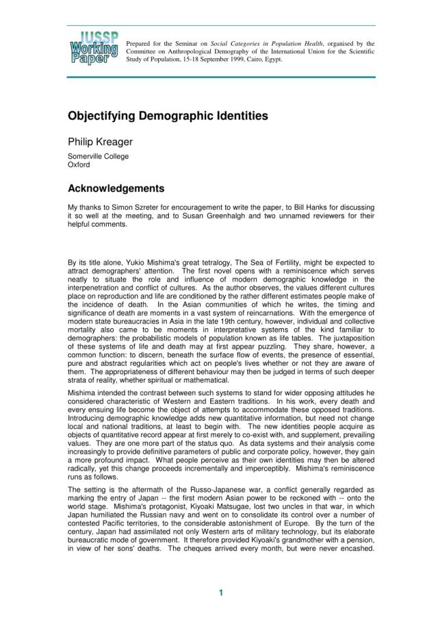 PDF) Objectifying Demographic Identities