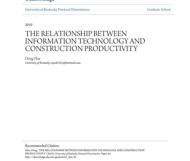 Pdf The Relationship Between Information Technology And Construction Productivity