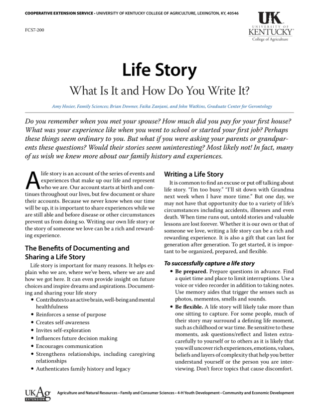 PDF) Life Story What Is It and How Do You Write It? The Benefits