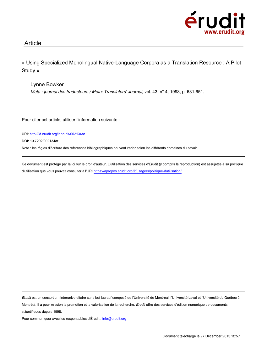 pdf using specialized monolingual native language corpora as a translation resource a pilot study
