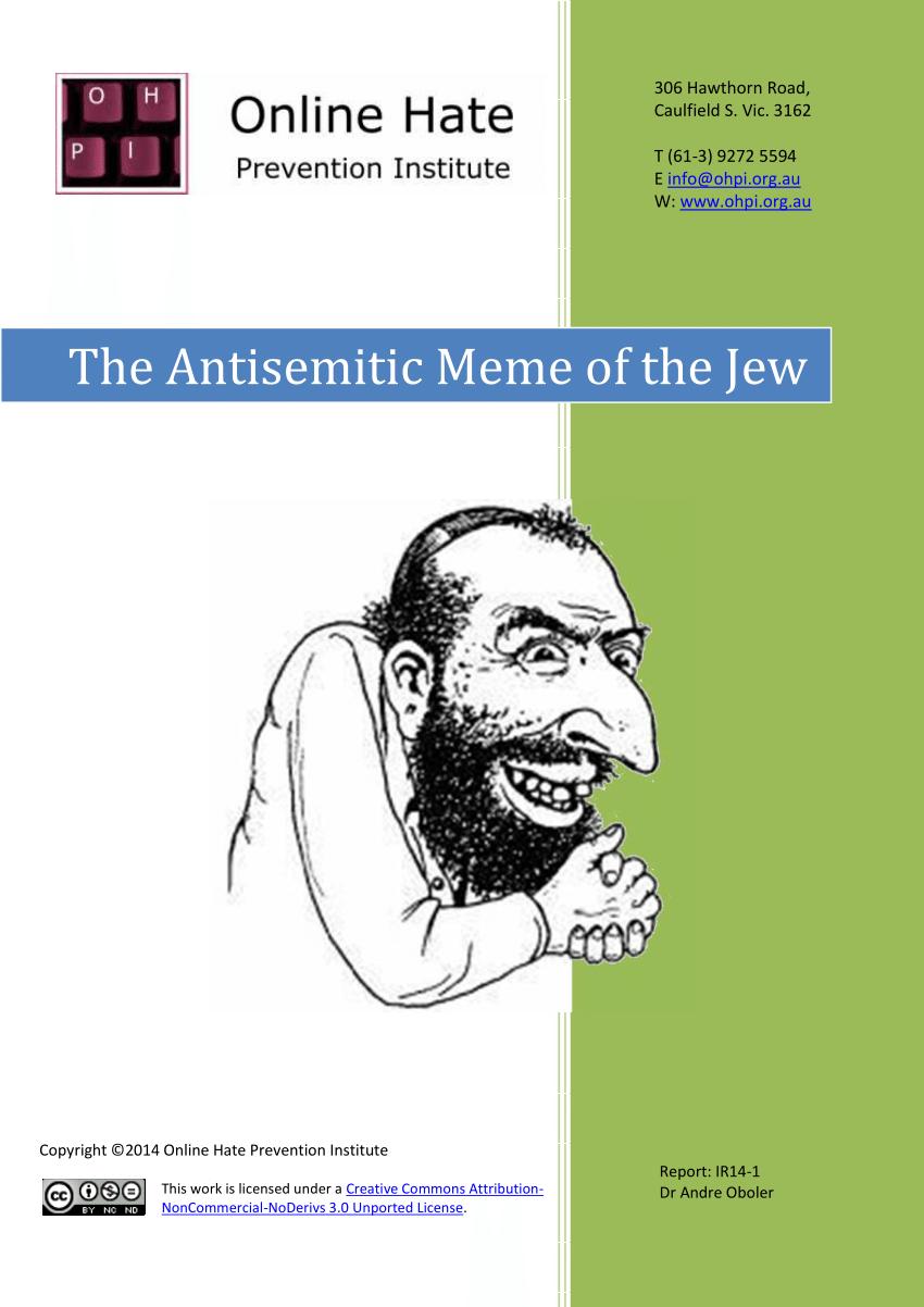 Pdf The Antisemitic Meme Of The Jew