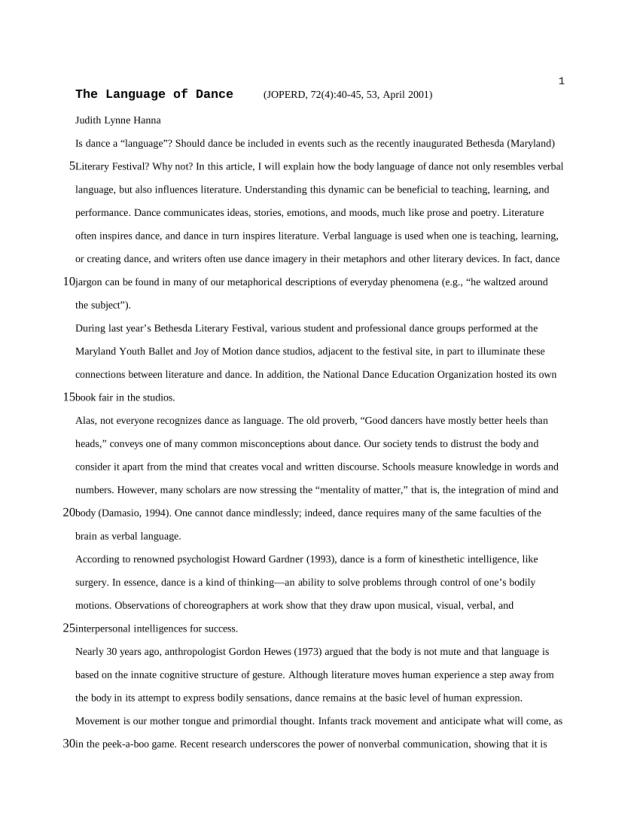 PDF) The Language of Dance