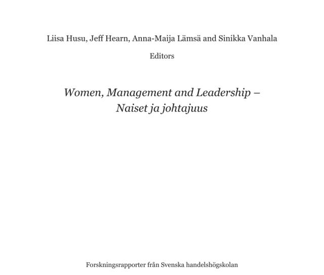 Pdf Pp 14 24 In Husu Hearn Et Al Eds Women Management And Leadership Naiset Ja Johtajuus Academic Data