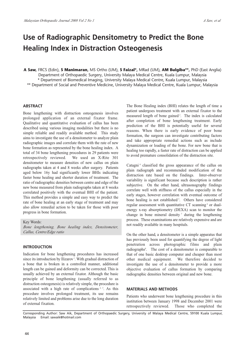 pdf use of radiographic densitometry to predict the bone healing index in distraction osteogenesis