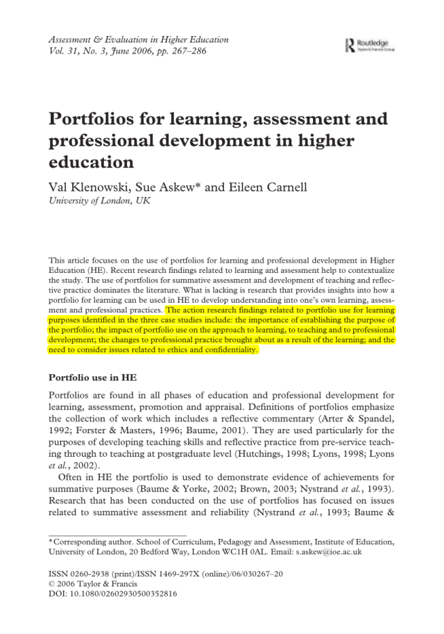 PDF) Portfolios for Learning, Assessment and Professional