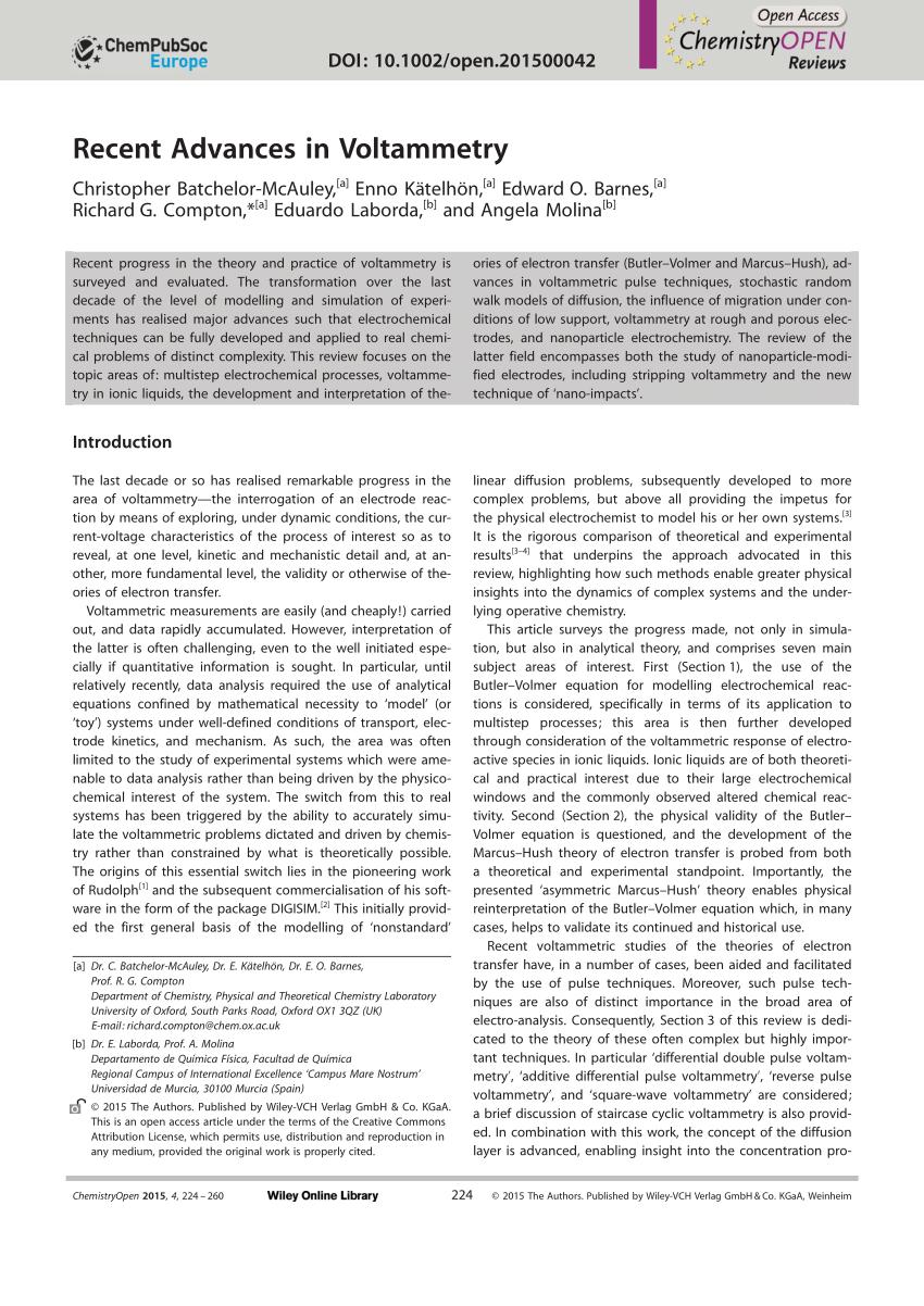 Pdf Recent Advances In Voltammetry