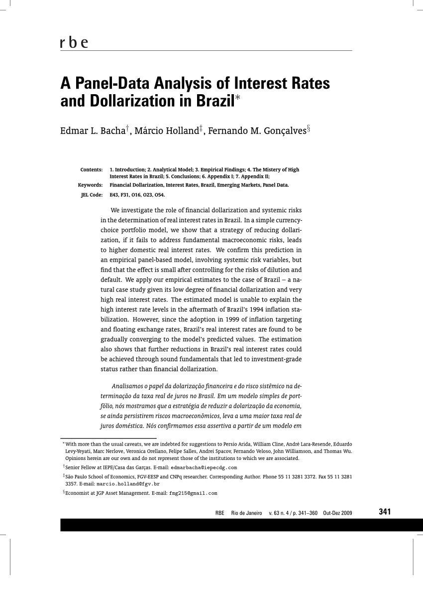 pdf comparing equilibrium real interest rates different approaches to measure brazilian rates