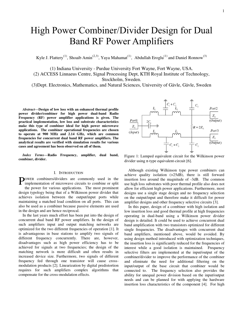 High Power Combiner Divider Design For Dual Band Rf