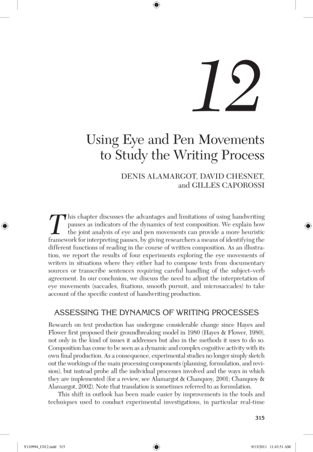 PDF) Using eye and pen movements to study the writing process