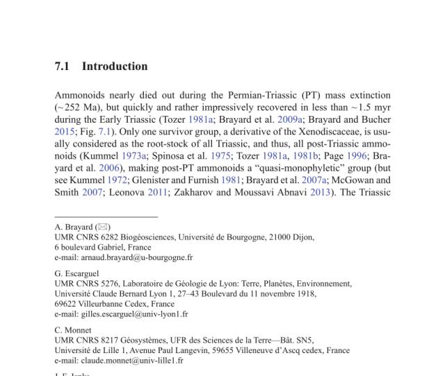 Pdf Brayard A Escarguel G Monnet C Jenks J Bucher H 2015 Biogeography Of Triassic Ammonoids In C Klug Et Al Eds
