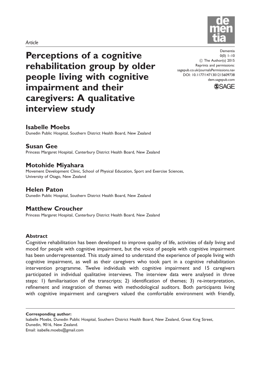 Perceptions Of A Cognitive Rehabilitation Group By