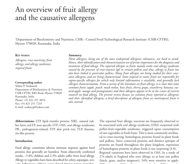 Pdf An Overview Of Fruit Allergy And The Causative Allergens