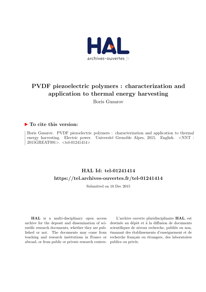 pdf pvdf piezoelectric polymers characterization and application to thermal energy harvesting