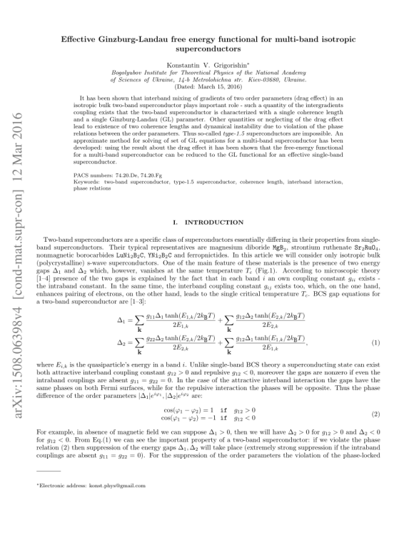 (PDF) Effective Ginzburg-Landau free energy functional for ...