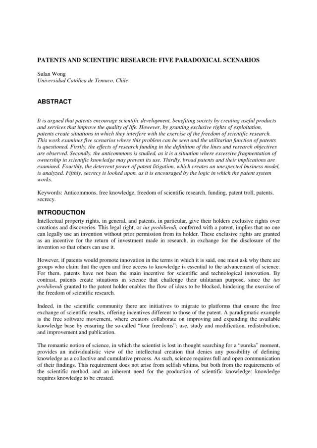 PDF) Patents and scientific research: Five paradoxical scenarios