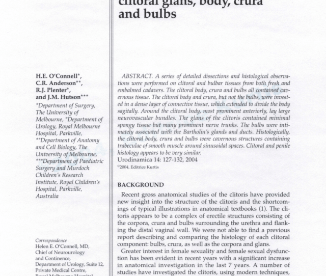 Pdf The Clitoris A Unified Structure Histology Of The Clitoral Glans Body Crura And Bulbs