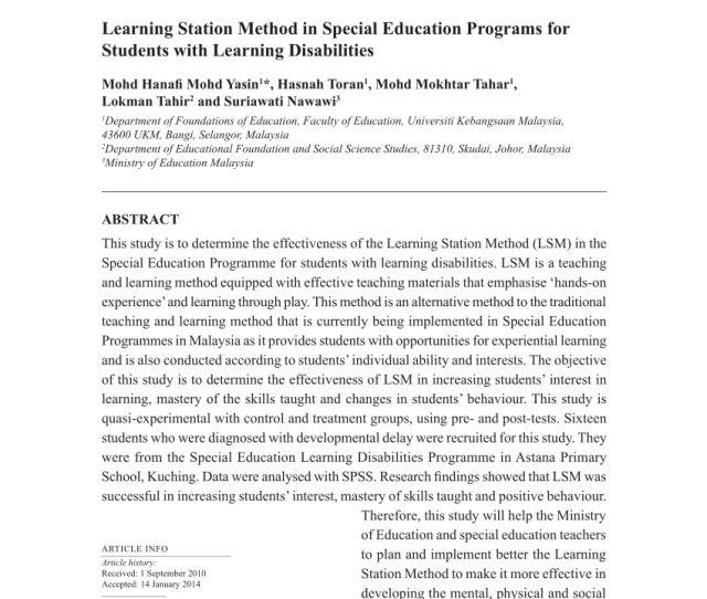 Pdf Learning Station Method In Special Education Programs For Students With Learning Disabilities