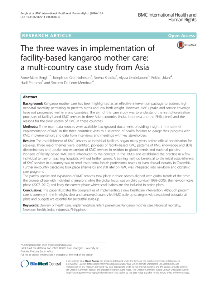 the three waves in implementation of facility-based kangaroo