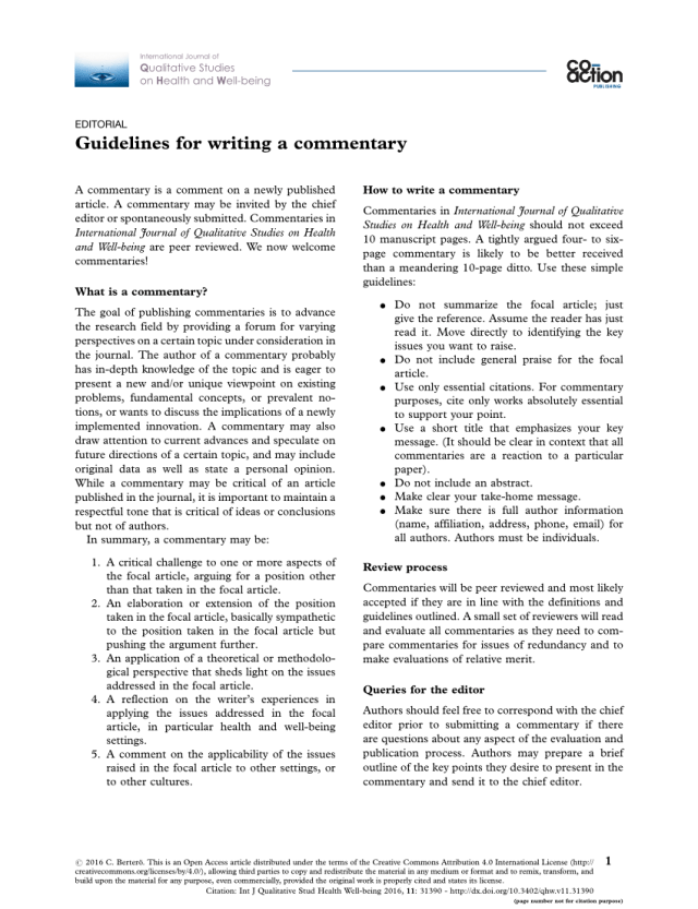 PDF) Guidelines for writing a commentary
