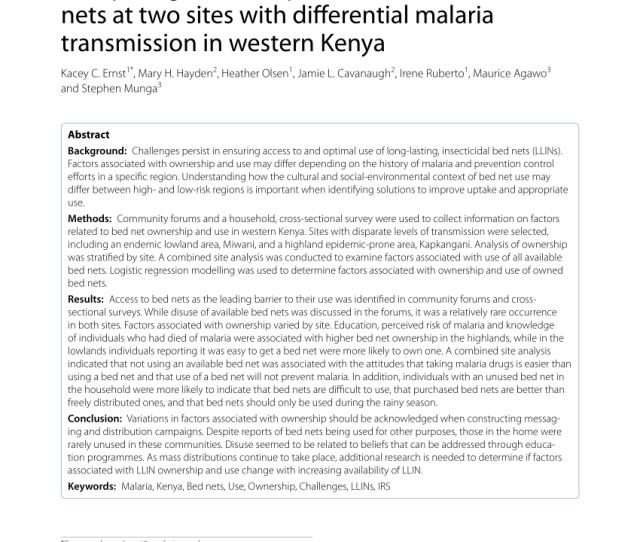 Pdf Topography Derived Wetness Indices Are Associated With Household Level Malaria Risk In Two Communities In The Western Kenyan Highlands