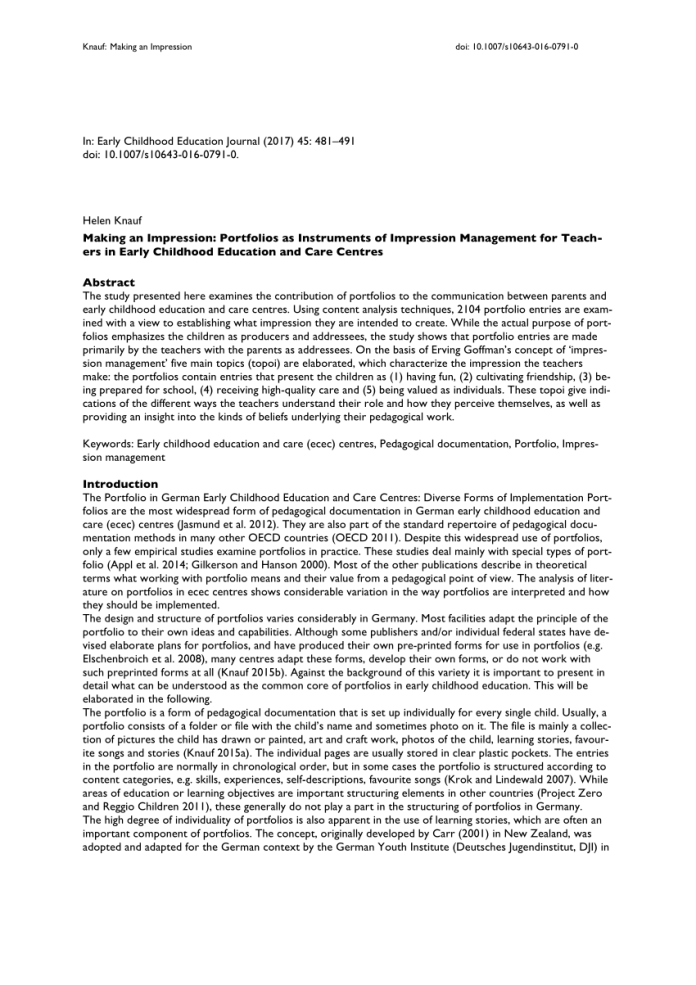 Pdf Making An Impression Portfolios As Instruments Of Impression Management For Teachers In Early Childhood Education And Care Centres