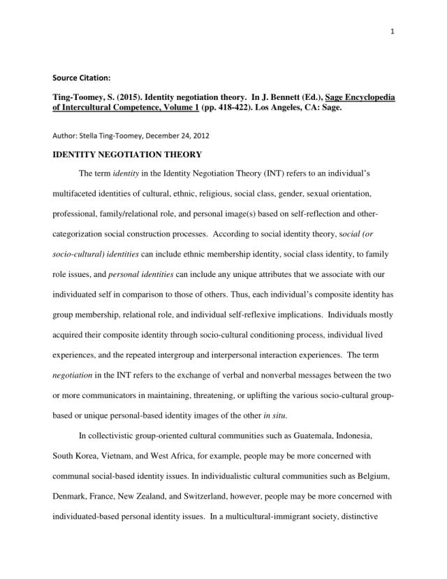 PDF) Identity Negotiation Theory
