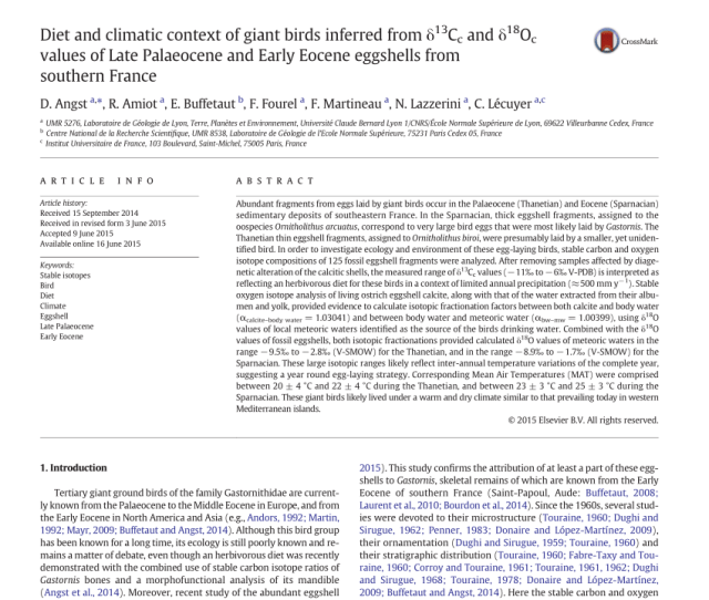 Pdf Diet And Climatic Context Of Giant Birds Inferred From Delta C 13c And Delta O 18c Values Of Late Palaeocene And Early Eocene Eggshells From
