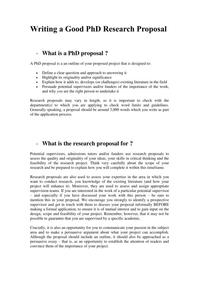 PDF) Writing a Good PhD Research Proposal