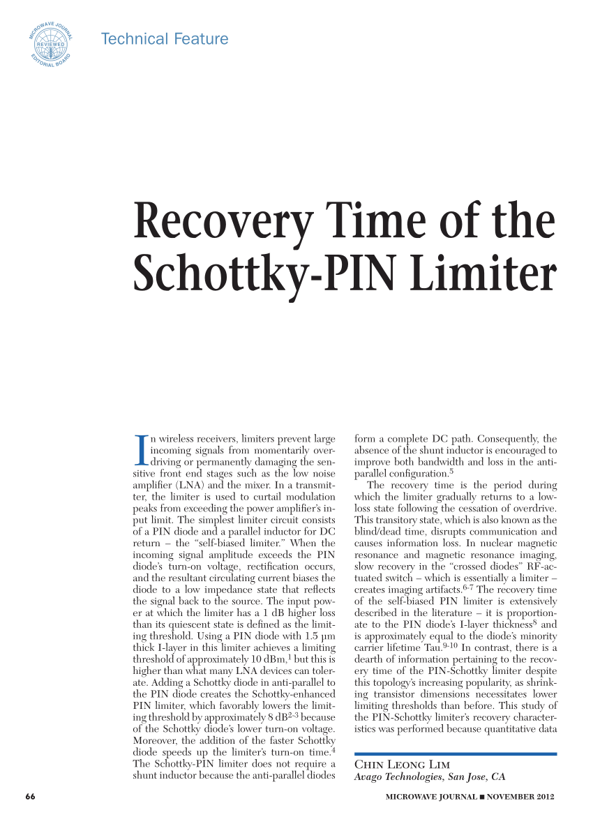 recovery time of the schottky pin limiter