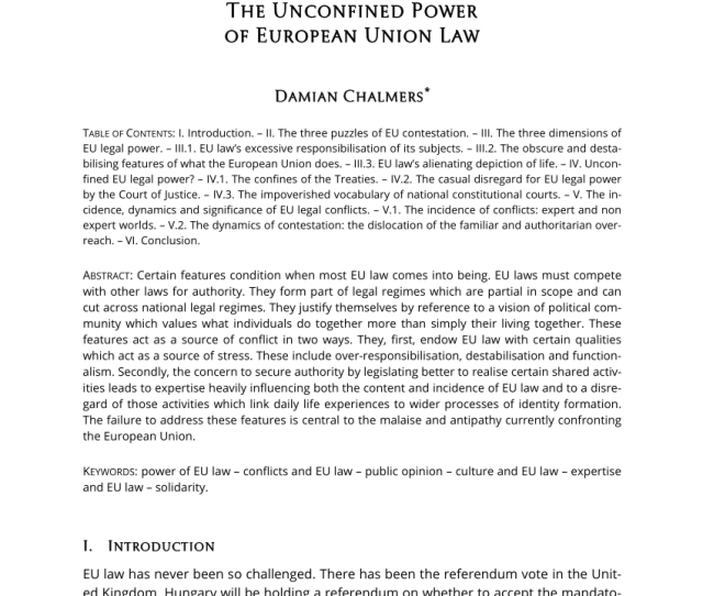 Pdf The Unconfined Power Of European Union Law