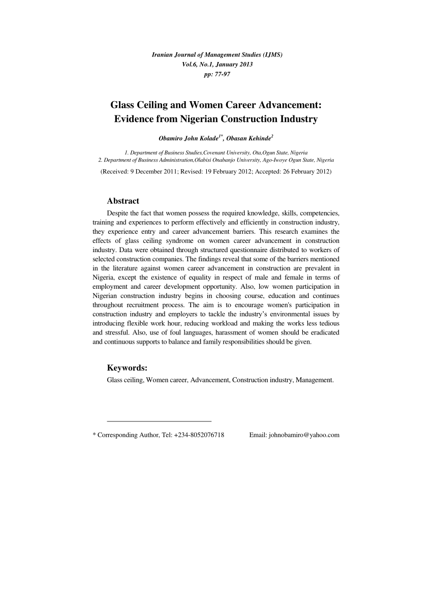 Pdf Investigating The Glass Ceiling Phenomenon An Empirical Study Of S Effects On Selection Promotion And Female Effectiveness
