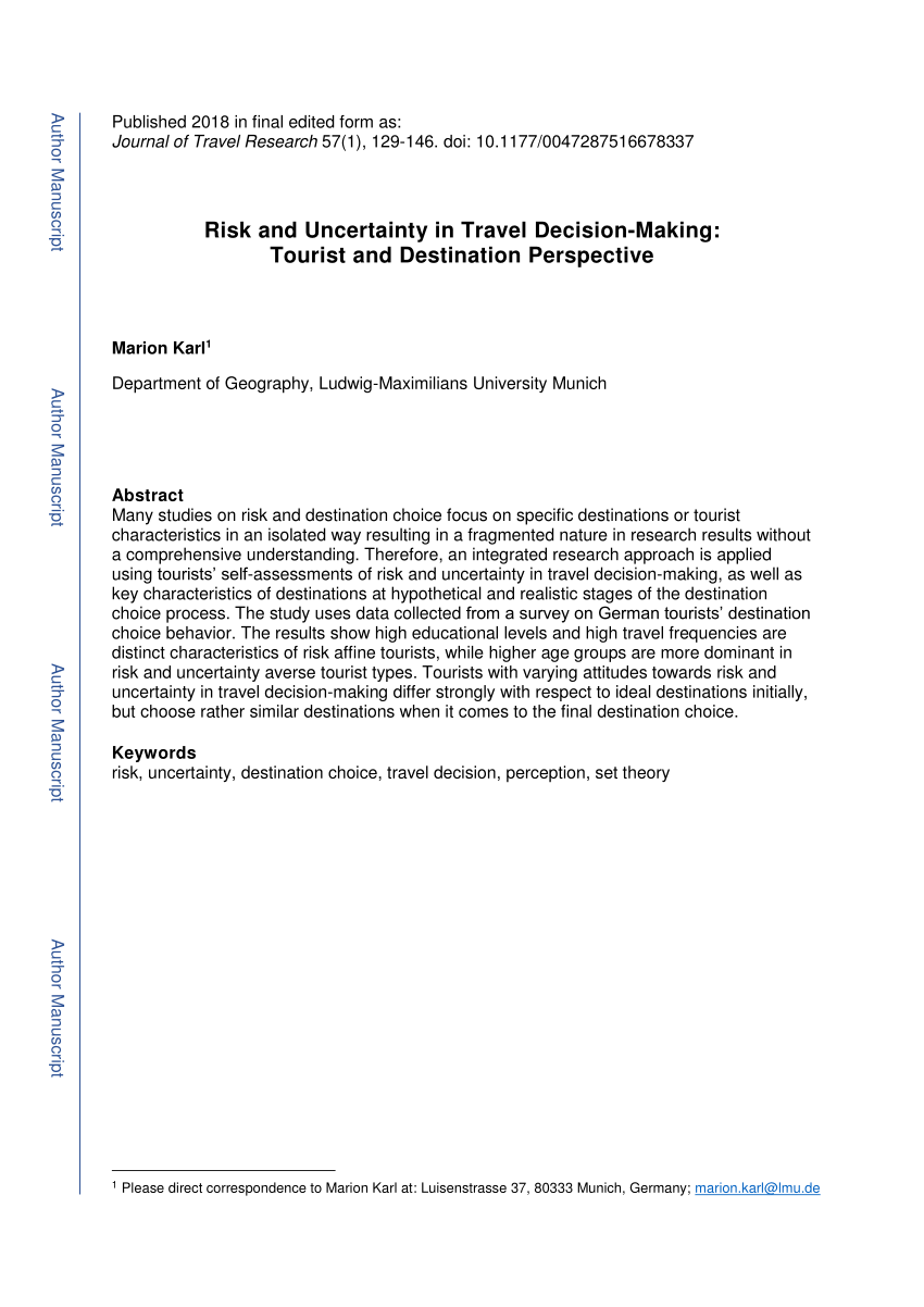 Pdf Risk And Uncertainty In Travel Decision Making Tourist And Destination Perspective