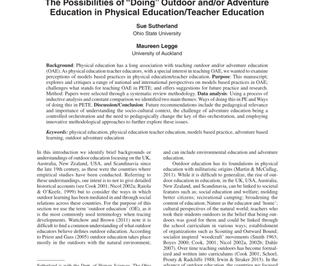 Pdf The Possibilities Of Doing Outdoor And Or Adventure Education In Physical Education Teacher Education