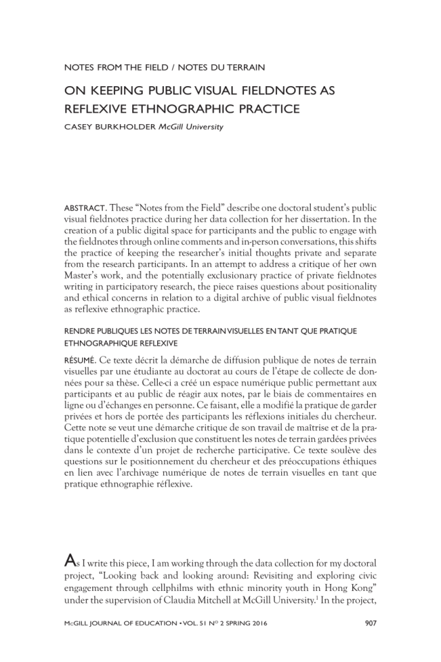 PDF) On Keeping Public Visual Fieldnotes As Reflexive Ethnographic
