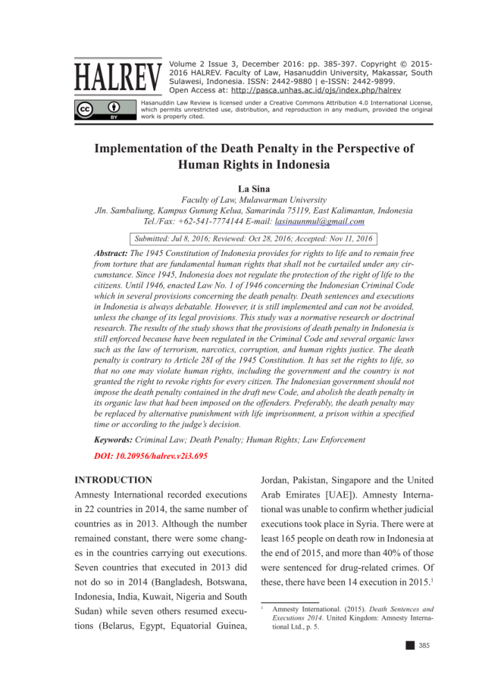 Pdf Implementation Of The Death Penalty In The Perspective Of Human Rights In Indonesia