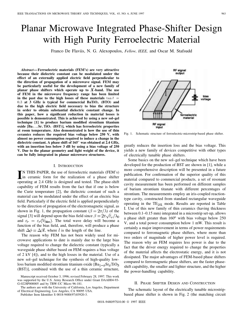pdf planar microwave integrated phase