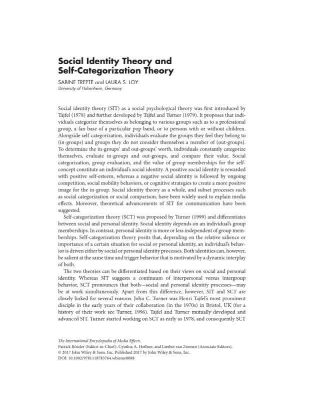 PDF) Social Identity Theory and Self‐Categorization Theory