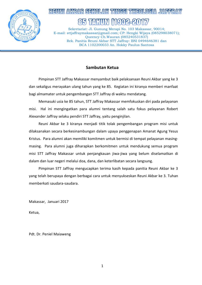 Pdf Proposal Reuni Akbar 85 Tahun Sekolah Tinggi Theologia Jaffray