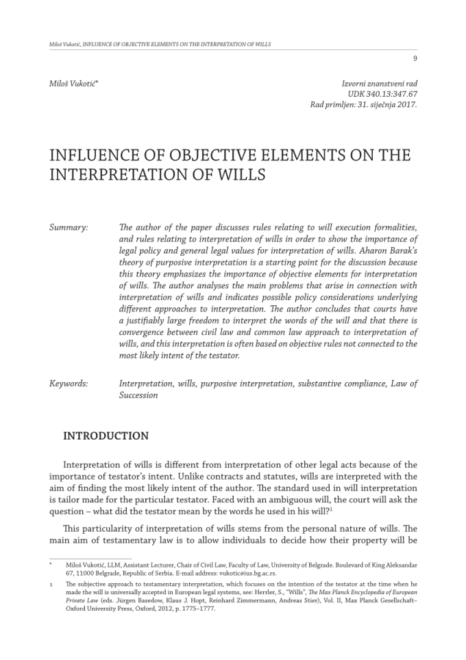 pdf influence of objective elements on the interpretation wills