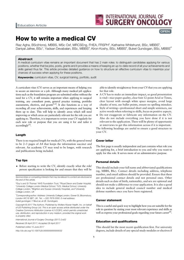 PDF) How to write a medical CV