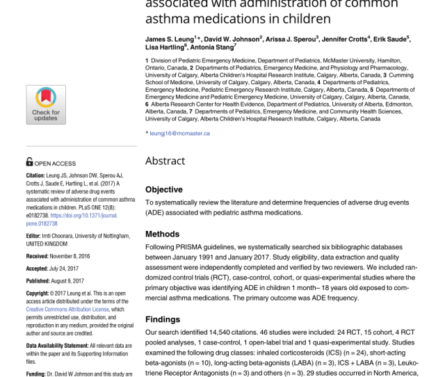 Pdf A Systematic Review Of Adverse Drug Events Associated With Administration Of Common Asthma Medications In Children