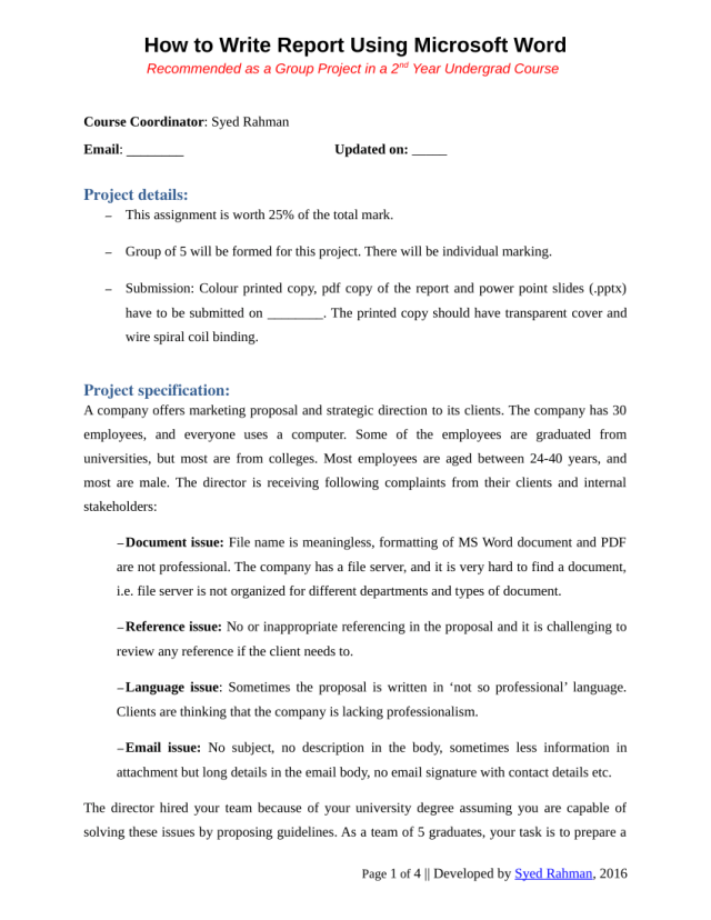 PDF) How to write a report - Assignment template