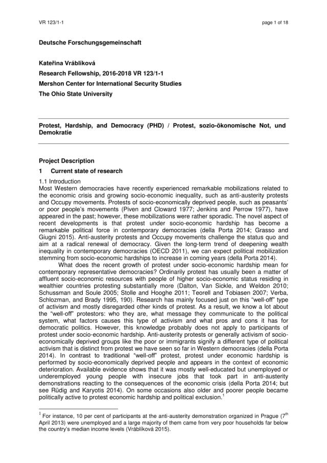 PDF) Project proposal - Protest, Hardship, and Democracy (PHD)
