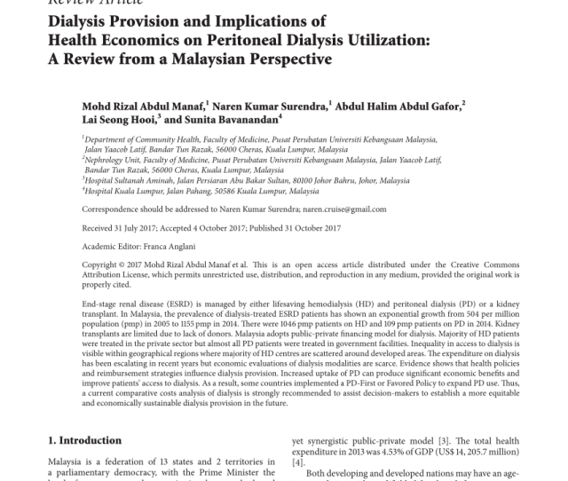 Economic Evaluation Of Palliative Management Versus Peritoneal Dialysis And Hemodialysis For End Stage Renal Disease Evidence For Coverage Decisions In