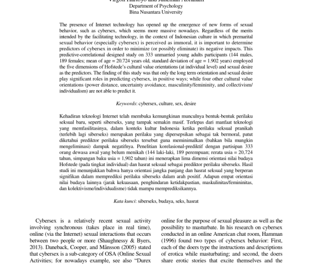 Pdf The Role Of Cultural Value Orientations And Sexual Desire In Predicting Cybersex Behavior In Unmarried Young Adults