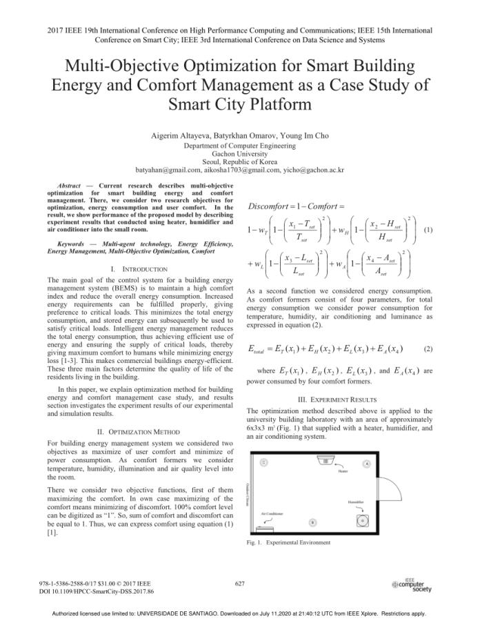 Pdf Multi Objective Optimization For Smart Building Energy And Comfort Management As A Case Study Of Smart City Platform