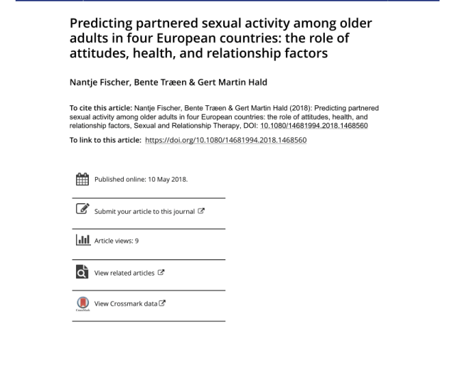 Pdf Attitudes Towards Sexuality In Older Men And Women Across Europe Similarities Differences And Associations With Their Sex Lives