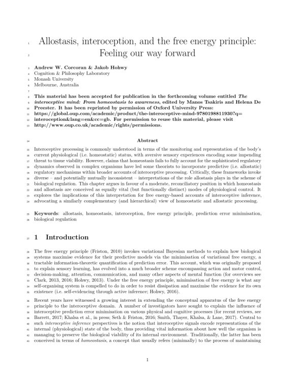 (PDF) Allostasis, interoception, and the free energy ...